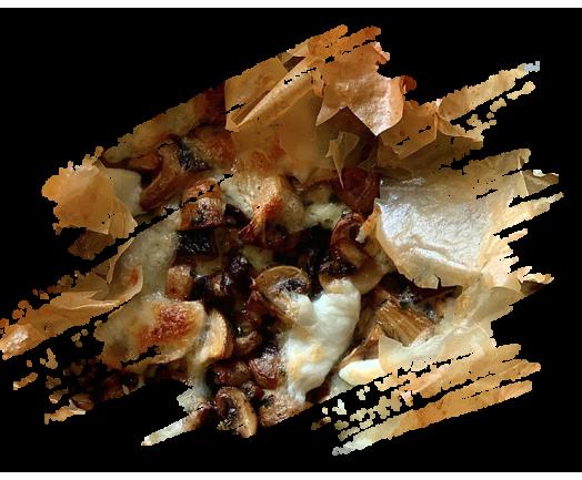 Croustillant aux champignons et mozzarella